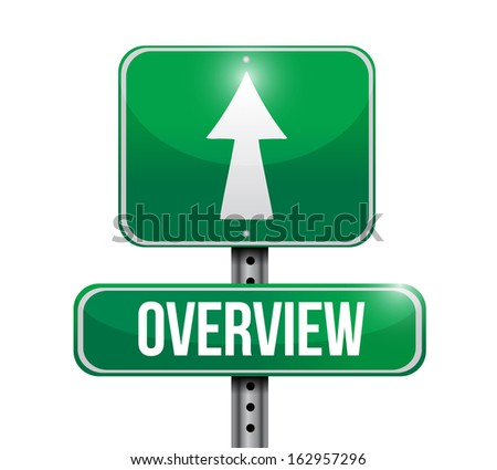 overview road sign illustration design over a white background - stock photo