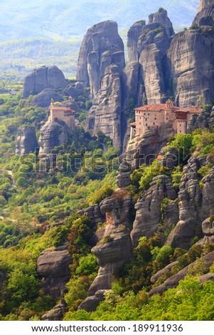 Overview to Roussanou monastery at Meteora, Greece  - stock photo