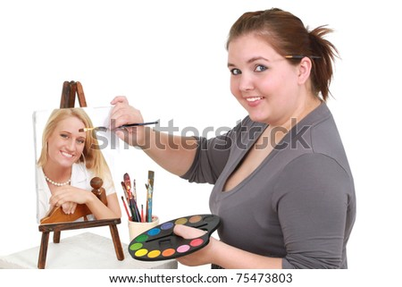 Overweight artist painting a picture-perfect of a young woman - stock photo