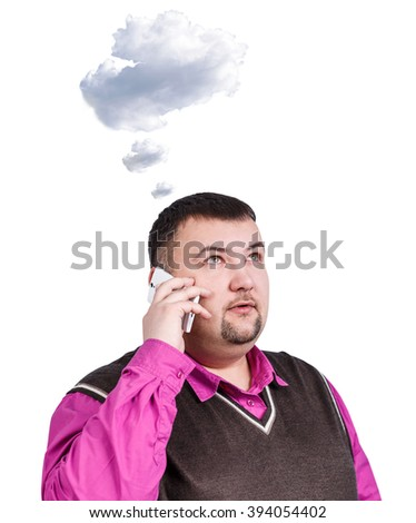 Overweight businessman speak on the phone - stock photo