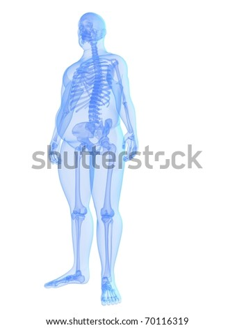 overweight male - skeleton - stock photo