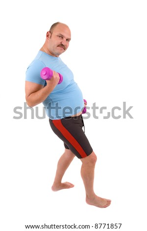 Overweight man doing exercises with dumbbells on white background - stock photo