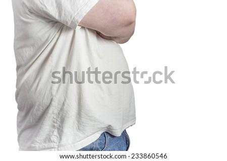 overweight Man in blue jeans and white t-shirt with crossed arms isolated on white background