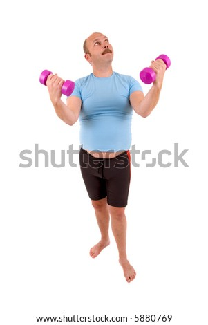 Overweight man in too tight shirt using dumbbels
