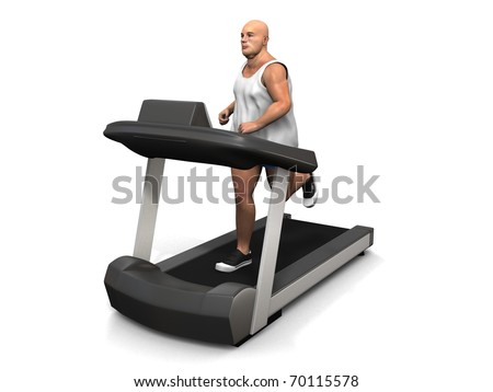 overweight man on the treadmill - stock photo