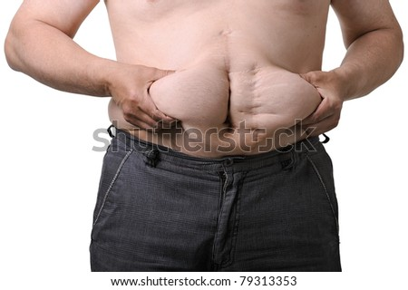 Overweight man poses for a before picture. He really needs a diet! - stock photo