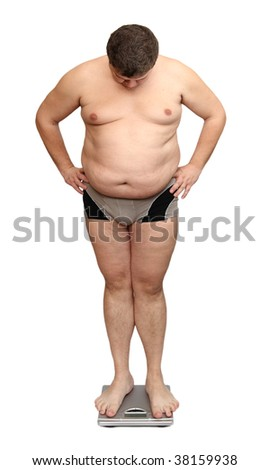 overweight man standing on scales isolated on white - stock photo