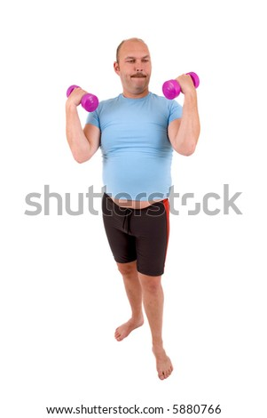 Overweight man with beer belly and very light hand weights - stock photo