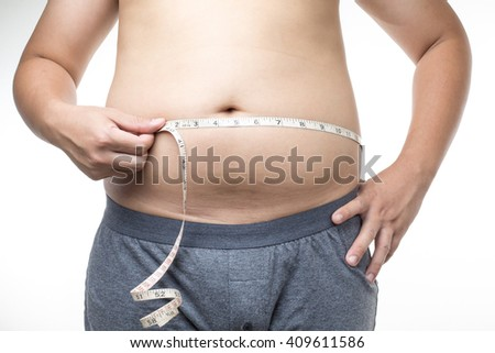 overweight man with tape measure around waist