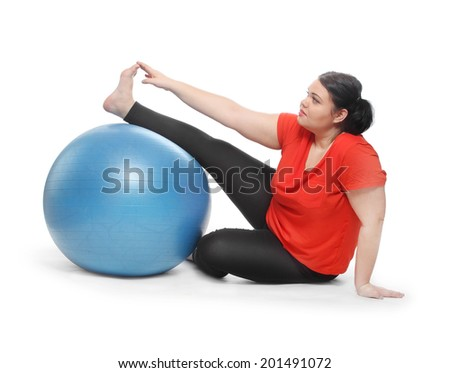 Overweight woman exercising. Weight loss concept. - stock photo