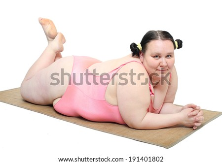 Overweight woman in swimmsuit.