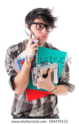 Overworked nerdy office intern talking over the phone, isolated on white - stock photo