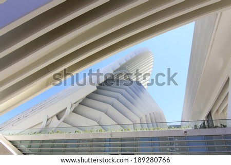 OVIEDO, SPAIN - JULY 07: Exhibition center Ciudad de Oviedo in Asturias. Was designed by architect Santiago Calatrava, inaugurated in May 2011 Spain, on Oviedo July 07, 2013 - stock photo