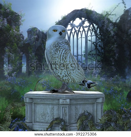 Owl bird sitting on a pedestal at night. - stock photo