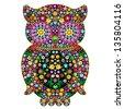Owl Flowers Ornamental Art Design - stock photo