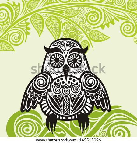 Owl illustration - stock photo