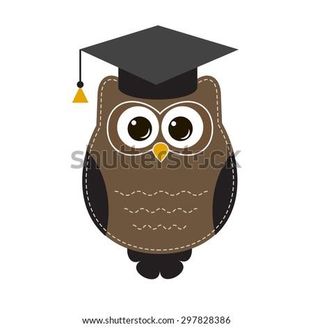 owl in hat. Raster version - stock photo
