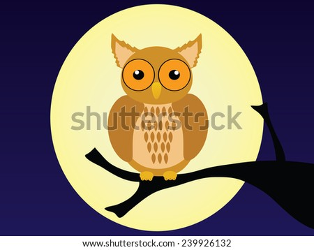 Owl is hold the branch - stock photo