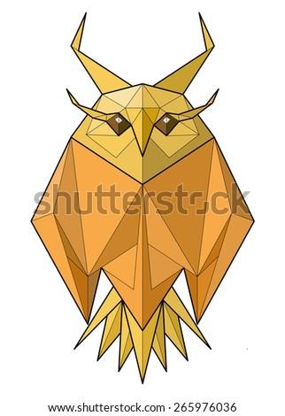 Owl. Low polygon linear illustration - stock photo