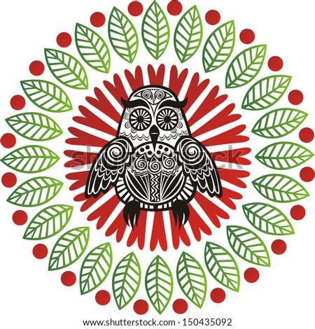 Owl pattern round design element illustration - stock photo