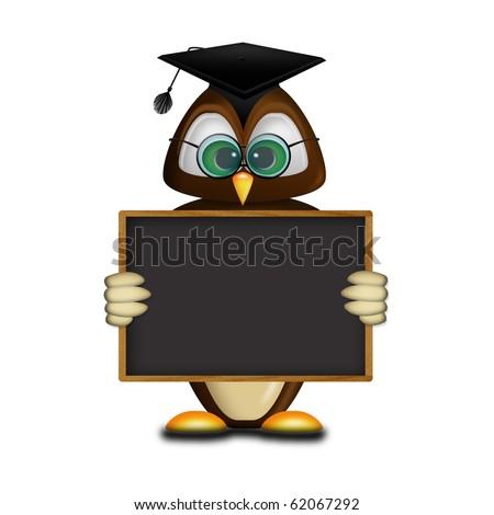 Owl school - stock photo