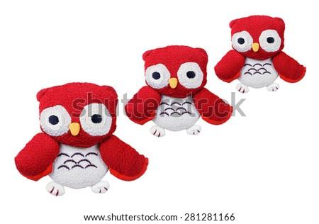 Owl Soft Toys on Isolated White Background - stock photo