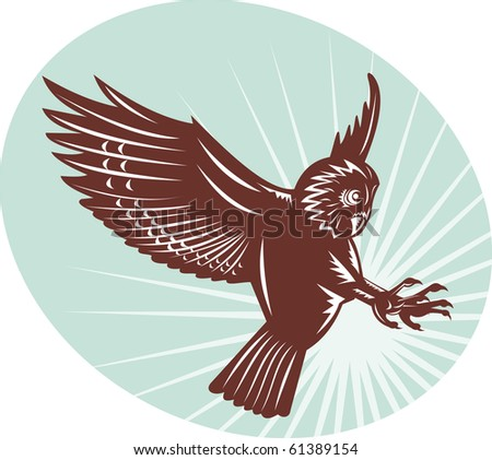Owl swooping woodcut style illustration of an Owl swooping done in woodcut style - stock photo