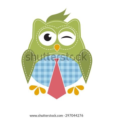 owl with tie. Raster version - stock photo