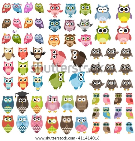 Owls and owlets set. Raster version - stock photo