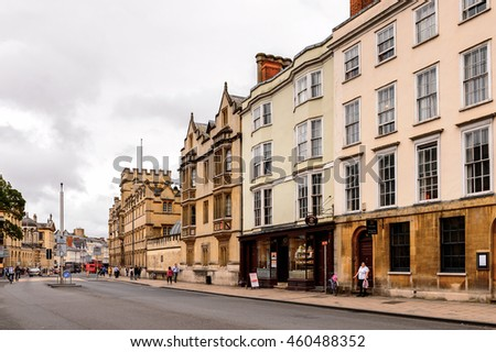 OXFORD, ENGLAND  - JULY 10, 2016: Catte Street of Oxford, England. Oxford is known as the home of the University of Oxford