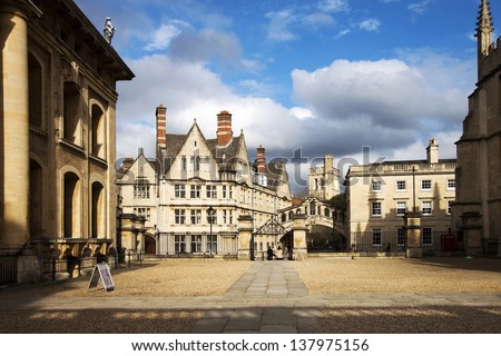 Oxford houses with Bridge of sighs - stock photo