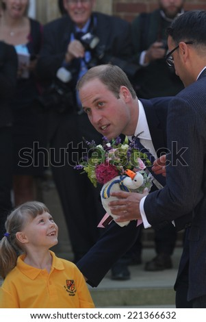 OXFORD - 8 SEP: Prince William, Duke of Cambridge arrives to formally open The Dickson Poon University of Oxford China Centre Building on Sep 08, 2014 in Oxford - stock photo