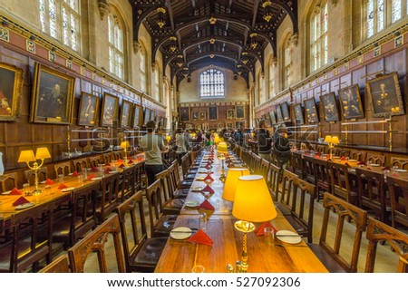 OXFORD, UK - JULY 19, 2015: The great hall of Christ Church, University of Oxford, England. It is the center of college life where academic community congregates to dine each day.