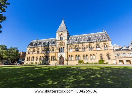 OXFORD, UK - JULY 19, 2015: The Oxford University Museum of Natural History, also known as the Oxford University Museum or OUMNH, is located on Parks Road in Oxford, England.