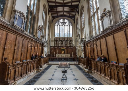 OXFORD, UK - MAY 19, 2015: Interior of University Church of St Mary the Virgin. It is the largest of Oxford's parish churches and the centre from which the University of Oxford grew.  - stock photo