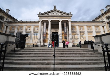 OXFORD, UK - OCTOBER 25. The Ashmolean Museum of Art and Archaeology on October 25, 2014. With history from 1683 the present building opened in 1845, located in Oxford, England, UK. - stock photo