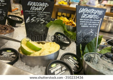 Oxford, United Kingdom - September 10, 2015: Lush cosmetics at store in Oxford, UK. Lush is a popular UK high street store for cosmetic products. - stock photo
