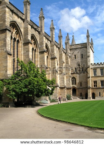 Oxford University, New College Courtyard - stock photo