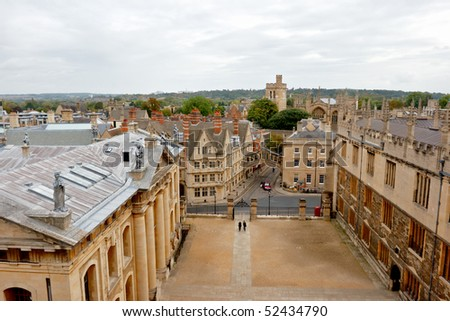 Oxford viewed from Sheldonian theater. England - stock photo