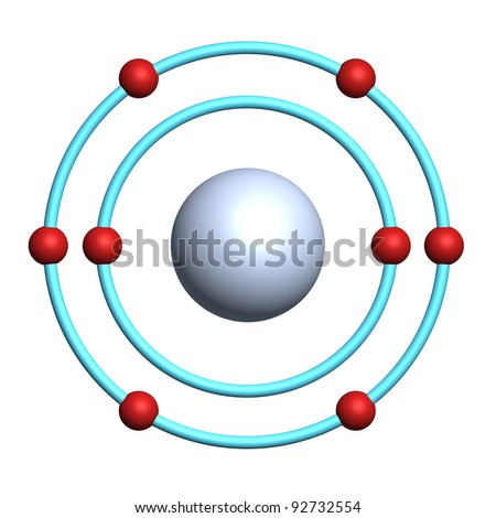 oxygen atom on white background - stock photo