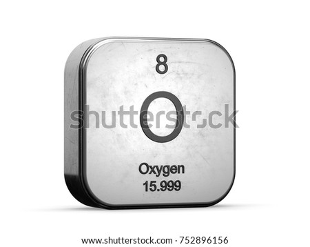 Oxygen element from the periodic table. Metallic icon 3D rendered on white background