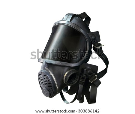 Oxygen mask , Gas mask , Firefighters mask of Firefighters in Thailand. Been through the use and very old Isolated on white background, (with clipping path) - stock photo