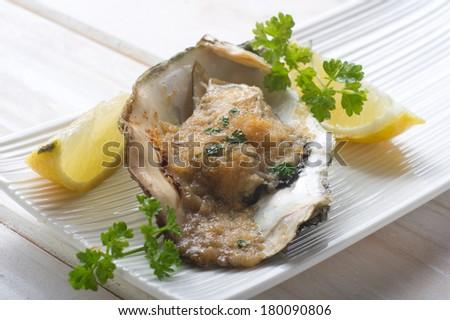 oyster au gratin - stock photo