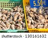 Oysters market in Cancale, France. Horizontal shot - stock photo