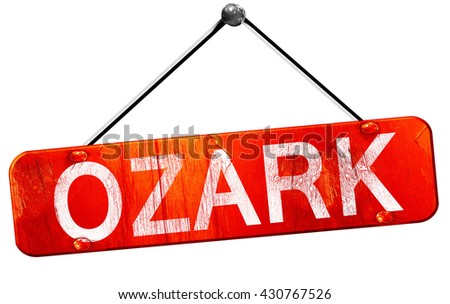 ozark, 3D rendering, a red hanging sign