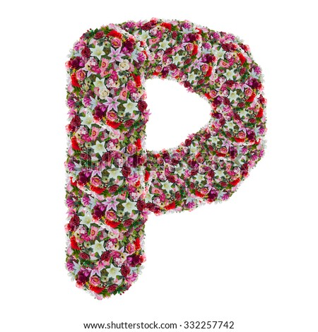 p, flower letter isolated on white background
