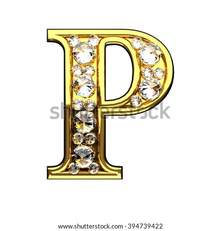 p isolated golden letters with diamonds on white