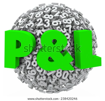 P & L letters on a ball or sphere of 3d numbers to illustrate a budget balance sheet with profit and loss illustrated for revenue and spending - stock photo