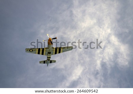 P 51 Mustang at a airshow in England UK 2014 - stock photo