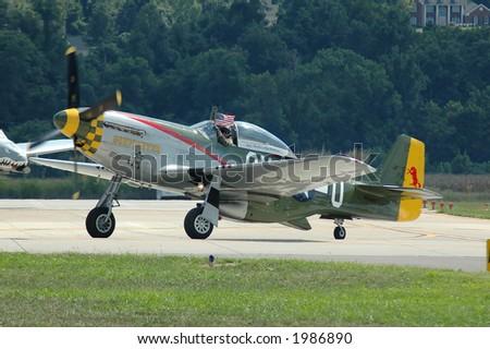 P-51 Mustang World War II airplane taxiing - stock photo